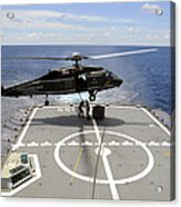 An Sh-60f Sea Hawk Helicopter Lowers Acrylic Print