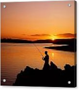 Angler At Sunset, Roaring Water Bay, Co Acrylic Print by The Irish Image Collection