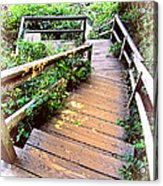 Angular Wooden Stairs Acrylic Print