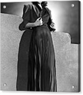 Ann Sheridan Wearing Pleated Evening Acrylic Print by Everett