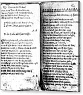 Anne Bradstreet Poems Acrylic Print