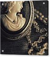 Antique Cameo Medallion On Wood Acrylic Print