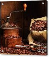 Antique Coffee Grinder With Beans Acrylic Print by Sandra Cunningham