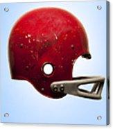 Antique Football Helmet On Blue Background Acrylic Print