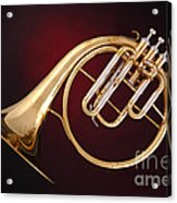 Antique French Horn On Deep Red Acrylic Print