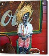 Antique Plaster Black Child Fisherman With Coca Cola Background Acrylic Print