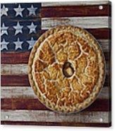 Apple Pie On Folk Art  American Flag Acrylic Print