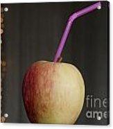 Apple With Straw Acrylic Print