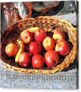 Apples And Bananas In Basket Acrylic Print