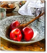 Apples In A Silver Bowl Acrylic Print by Susan Savad