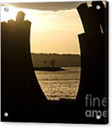 Arcs Sunset Bernar Venet Sculpture Sunset Beach Park Vancouver Bc Canada Acrylic Print