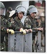 Argentine Marines Dressed In Riot Gear Acrylic Print by Stocktrek Images