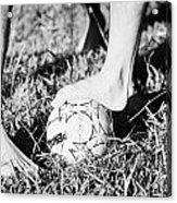 Argentinian Hispanic Men Start A Football Game Barefoot In The Park On Grass Acrylic Print by Joe Fox