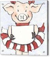 Arkansas Razorback Cheer Piggy Acrylic Print by Annie Laurie