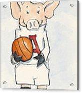 Arkansas Razorbacks - Basketball Piggie Acrylic Print by Annie Laurie
