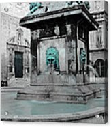 Arles Fountain With A Spot Of Color Acrylic Print