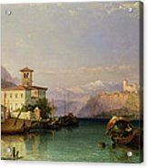 Arona And The Castle Of Angera Lake Maggiore Acrylic Print