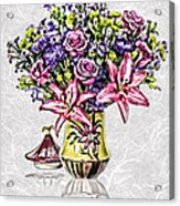 Arrangement In Pink And Purple On Rice Paper Acrylic Print