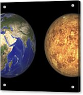 Artists Concept Showing Earth And Venus Acrylic Print by Walter Myers