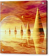 Artwork Of An Alien Landscape Acrylic Print by Mehau Kulyk