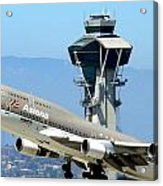 Asiana 747-400 And Lax Tower Acrylic Print