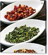 Assorted Herbal Wellness Dry Tea In Bowls Acrylic Print