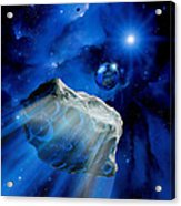Asteroid Approaching Earth Acrylic Print