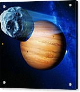 Asteroid Passing Jupiter Acrylic Print by Detlev Van Ravenswaay