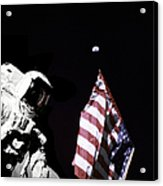 Astronaut Stands Next To The American Acrylic Print