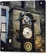 Astronomical Clock At Night Acrylic Print