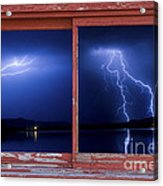 August Storm Red Barn Picture Window Frame Photo Art View Acrylic Print