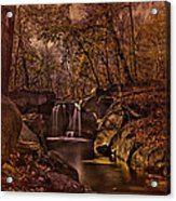 Autumn At The Waterfall In The Ravine In Central Park Acrylic Print