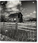 Autumn Barn Black And White Acrylic Print
