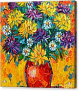 Autumn Flowers Gorgeous Mums - Original Oil Painting Acrylic Print