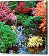 Autumn Garden Waterfall I Acrylic Print