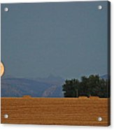 Autumn Moonrise Over Montana's Bridger Mountains Acrylic Print