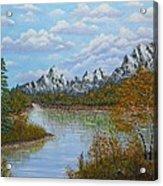 Autumn Mountains Lake Landscape Acrylic Print