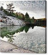 Autumn Nature Lake Rocks And Trees Acrylic Print