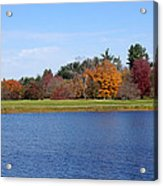 Autumn Trees By The Lake Acrylic Print