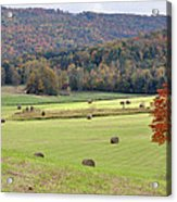 Autumn Valley Hay Bales Acrylic Print by Jan Amiss Photography