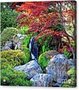 Autumn Waterfall - Digital Art Acrylic Print