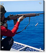 Aviation Ordnanceman Fires An M-14 Acrylic Print