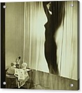 Back-lit Silhouette Of Nude Woman Acrylic Print