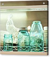 Ball Jars And White Rooster Acrylic Print