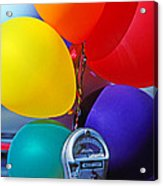 Balloons Tied To Parking Meter Acrylic Print