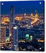 Bangkok Capital City Of Thailand Nightscape Acrylic Print by Arthit Somsakul