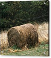 Barbed Wire Fence And Hay Roll Acrylic Print by Raymond Gehman