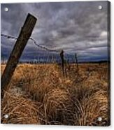 Barbed Wire Fence Posts With Dark Sky Acrylic Print