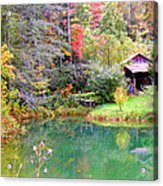 Barn And Pond In The Fall Acrylic Print