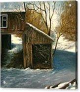 Barn In The Snow Acrylic Print